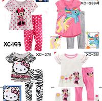 Drop Shipping Children Cotton Cartoon short Sleeve minnie Hello kitty Tigger Pajamas Baby Sleepwear Kids pyjamas clothes sets