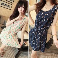 New Korean Fashion Female Dress Women Sleeveless Dress Ladies Dot Printed Mini Dress Casual Dresses A701