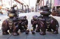"19""China red bronze Auspicious symbol On Yuanbao luck money elephant statue pair"
