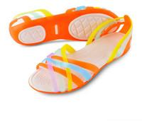 2014 Summer Women Colorful Jelly Hole Shoes Beach Sandals Open Toe Cross Flat Low Platform Rome Garden Leisure Cozy Sandals