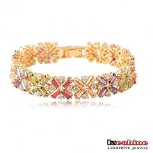 Beautiful Bracelets Radiation Shaped Flower Cubic Zircon Bracelet AAA Swiss Cubic Zirconia Diamond Female Bracelet  CBR0011-C