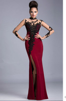 Wholesale - Hot Sale Elegant Chiffon Red Formal Evening Dresses Gowns Long Sleeve Shop Online Floor length Customized Made