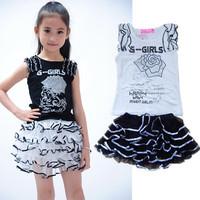 2014 Kids clothing set Rose flower girls' suits T-shirt + skirt 2pcs sets children's clothes suit cake skirt tutu