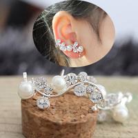 Elegant style charm pearl flower design earring clip women gold plated clip earring rhinestone earring clip cuff wholesale