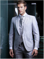 Custom Made Dinner Suit Formal Wedding Suits For Men Groom/Groomsman Tuxedos (Jacket+Pants+Tie+Vest)