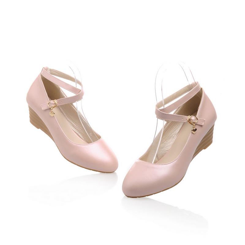 ankle pumps medium heel wedges shoes for