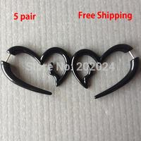 10pcs acrylic black heart fake ear plug earrings body piercing jewelry