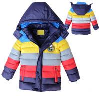 Free shipping New kids boy winter wadded jacket stripe patchwork cotton padded jacket children winter coat boy winter outerwear