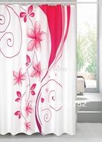 New arrival promotion Pink flowers bathroom Polyester Shower Curtain 180x180cm bath curtain bath screen waterproof w/hooks