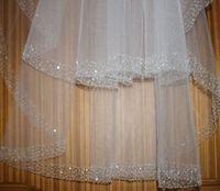 2 Layer fingertip bridal veil white/ivory diamond bead edge wedding veils&combs