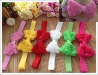 10pcs triplex rose flower foldover bowknot hair bow + elastic hairband baby headband infant hair accessories