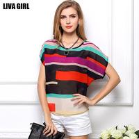 2014 New Fashion Plus Size XXXL Women's Wear Loose t-shirts with Short Sleeves Female irregular colorful stripe chiffon Blouse