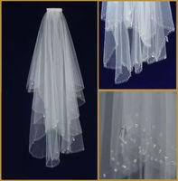 2T White ivory Elbow Handmade beaded Edge Bridal Wedding Veil With Comb