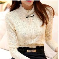 fashion women tops 2014 Autumn Thick Fleece Women Crochet Blouse Lace Shirt Women Clothing Blusas Femininas Blouses & Shirts