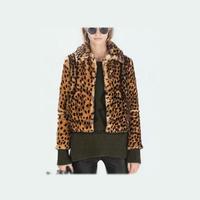 Europe fashion leopard women slim jacket autumn & winter long sleeve short coat woman overcoat outwear Q122