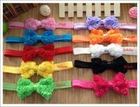 50pcs chiffon lace foldover rose bowknot flower hairband hair elastics girl headband children hair accessories