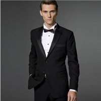 Tailor-made men the groom dress black peak lapel two buttons on the groom's best man dress suit (jacket and pants)