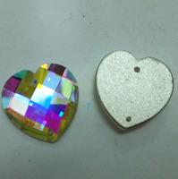 Free shipping 45pcs Crystal AB Color 2 Hole Sew On 20mm heart Rhinestones flat back sew on stone