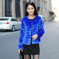 The new imitation of Rex rabbit fur coat Korean short grass collarless striped winter coat wholesale