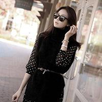 Spring 2014 high collar knitted sweater + retro Dot Chiffon Dress Set 1155
