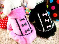 2014New! Wholesale 2pcs/lot XXS/XS/S/M/L pink/black pet winter fur hoodie jumpsuit skirt,pet winter clothing for dogs
