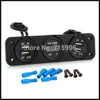20set/lot Car Auto 12V 4 USB Cigarette Lighter Sockets Adapter Charger with Voltmeter