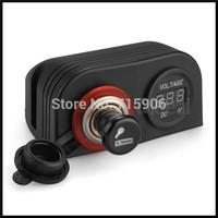 30pcs/lot 12V Car Cigarette Lighter Plug Socket with Voltmeter Volt Meter