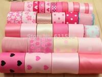 cute pink set for children ribbon material printed grosgrain ribbon and ribbon embroidery ribbons set 33 yards