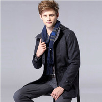 New 2014 Autumn Winter Men's Fashion Clothing coat Leisure wool cloth trench slimming long men trench coat