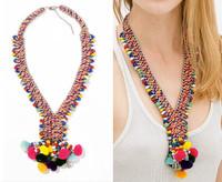 JC100 2014 NEW Fashion ZA Design ETHNIC POM POM BEAD NECKLACE Colorful Yarn Ball Pendant Collor For Women No Min Order