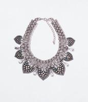 JC100 2014 NEW Fashion ZA Design RHINESTONE STATEMENT NECKLACE Crystal Leaf Choker For Women No Min Order High Quality Boutique