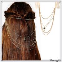 Fashion Gold Tassel chains Hair combs Vintage Layer Piercing chains Hair Accessories Women 2014 Bohemian Clips for hair