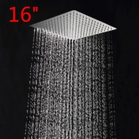 "KOYLE - 16"" square stainless steel ultra-thin showerheads shower head chuveiro chuveiros rain shower ducha power torneira"