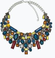 JC100 2014 NEW Fashion ZA Design Multicolor Necklace with Geometric Rhinestones For Women No Min Order High Quality Boutique