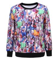 918 2014 Fashion Women/Men rihanna Pullovers 3D sweatshirt  printed Zombie ossified Dead sweaters casual Hoodies top blouse