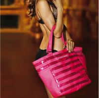 Hot Selling Brand Designer Fashion Canvas Bag Women's Handbag 2014 Sequins Pink Zipper Shoulder Bag Tote Shopping Bag Neverfull