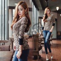 Autumn new sexy off shoulder leopard women t shirt long sleeve fashion tops tees Q124