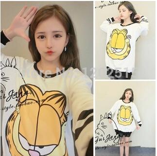 New 2014 autumn sweater berk big money cartoon face Garfield Baseball loose sweater T shirt(China (Mainland))