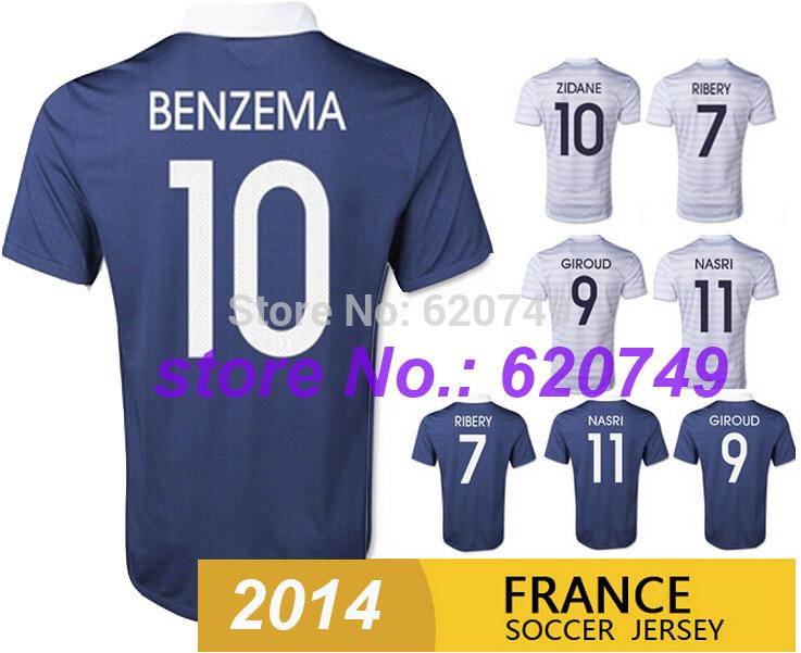 BENZEMA RIBERY 2014 15 France Soccer Jerseys Home Away Football Shirt Top Thai Quality Jersey NASRI 11 White Free Shipping(China (Mainland))