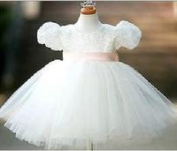 5 2014 white flower girl dresses for weddings girls pageant dresses lace pink sash prom dress children vestido de daminha 2015