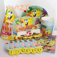 Kids Party SetsChildren birthday party decorations kids party supplies Spongebob Cartoon Party DecorationsFree Shipping