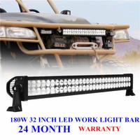 Free shipping 32Inch 180W LED Work Working Driving Light Bar for Boat OffRoad 4x4 Fog Lamp 10V-30V Car Truck Flood Beam SUV ATV