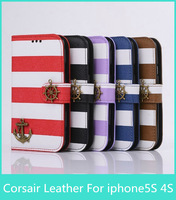 New Style Rainbow pattern Stripe corsair stand  Leather Cover Case For Apple iphone5 5S 4s with Drop shipping