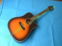 new high- grade surface veneer acoustic guitar in sunburst GE-5T with EQ+foam box +free shipping  F-2001