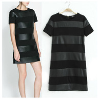 new spring autumn brand designer recommended short sleeve patchwork PU leather striped women casual vestidos,fashion women dress