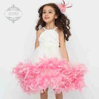 7 2014 white pink feather flower girl dresses for weddings girls pageant dresses  prom dress children vestido de daminha 2015