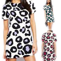 2014 New European Spring/Summer women O collar short sleeve sexy lady leopard print dress cloth009