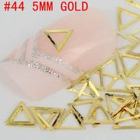 New! hollow triangle shaped 500pcs 3d metal nail art decoration free shipping Gold/Silver Nail Art Metallic Studs sticker