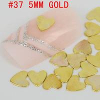 New! special heart shaped 500pcs 3d metal nail art decoration free shipping Gold/Silver Nail Art Metallic Studs sticker