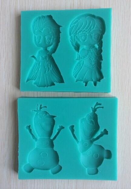 Popular Christmas 2PCS one Set Oscar Movie Frozen Anna and Elsa Olaf Cartoon Silicone Fondant Baking Mould Army Cake Tool--C367(China (Mainland))